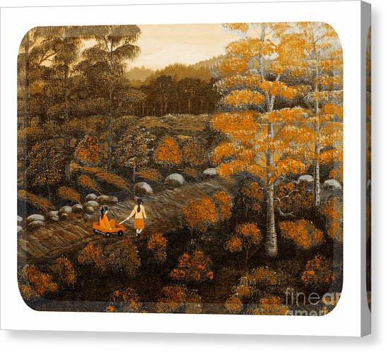 Big Sister Canvas Print - Road To The Duck Pond - Sixties Border - Red Wagon by Barbara Griffin