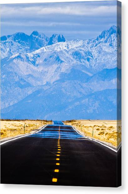 Snow Canvas Print - Road To The Mountains by Alexis Birkill