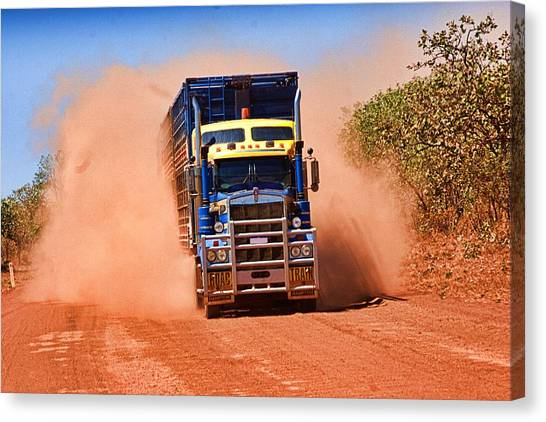 Canvas Print featuring the photograph Road Train On Dirt Road by David Rich