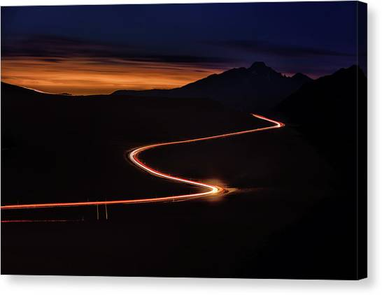 Canvas Print - Road With Headlights And Taillights by Keith Ladzinski