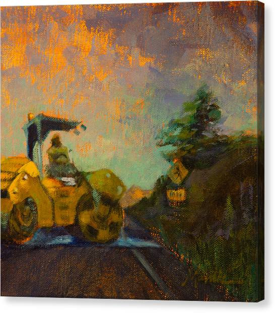 Hard Hat Canvas Print - Road Work Ahead by Athena Mantle