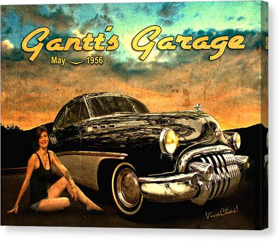 Roadmaster Betty And The Big Black Buick Canvas Print