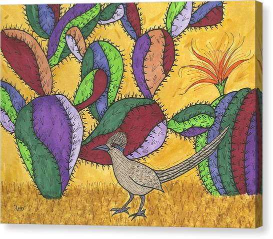 Roadrunner And Prickly Pear Cactus Canvas Print