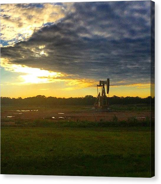 Oil Rigs Canvas Print - #roadtrip #road #trip #budget by Shawn Hope