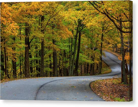 Indiana Autumn Canvas Print - Roadway In Autumn In Brown County State by Chuck Haney