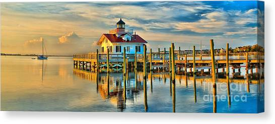 Roanoke Marsh Lighthouse Dawn Canvas Print