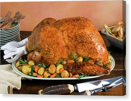 Stuffing Canvas Print - Roast Turkey With Potatoes And Chestnuts by Nico Tondini