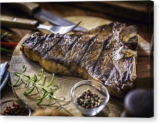 Roasted Bbq T-bone Steak Canvas Print by GMVozd