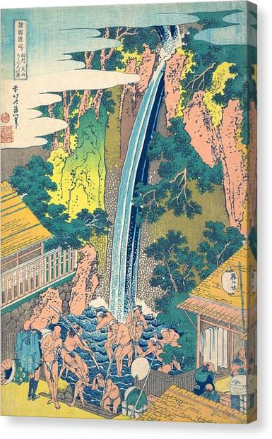 Oyama Canvas Print - Roben Waterfall At Oyama In Sagami Province by Katsushika Hokusai