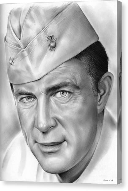 Pilots Canvas Print - Robert Conrad As Pappy Boyington by Greg Joens