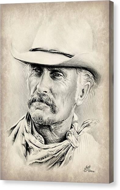Robert Duvall Sepia Scratch Canvas Print