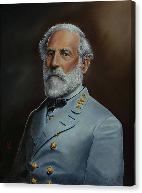 Confederate Army Canvas Print - Robert E. Lee by Glenn Beasley