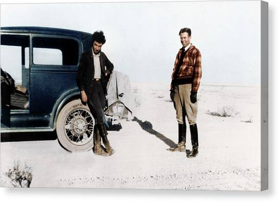 Canvas Print - Robert Oppenheimer And Ernest Lawrence by Copyright Status Unknown, Coloured By Science Photo Library