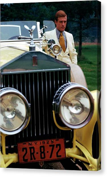 Robert Redford By A Rolls-royce Canvas Print by Duane Michals