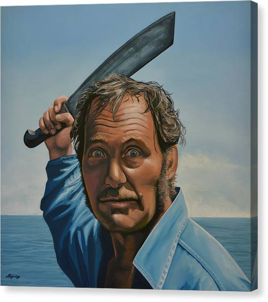 Jaws Canvas Print - Robert Shaw In Jaws by Paul Meijering