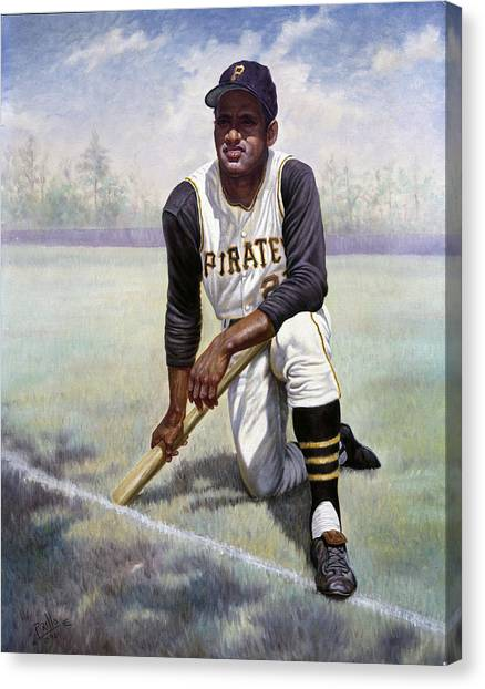 Mlb Canvas Print - Roberto Clemente by Gregory Perillo