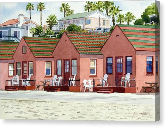 Historic House Canvas Print - Robert's Cottages Oceanside by Mary Helmreich