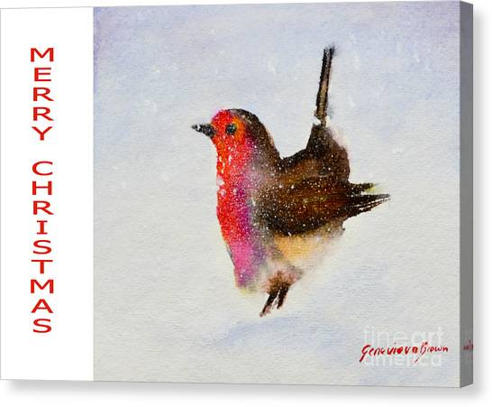 Robin Christmas Card Canvas Print