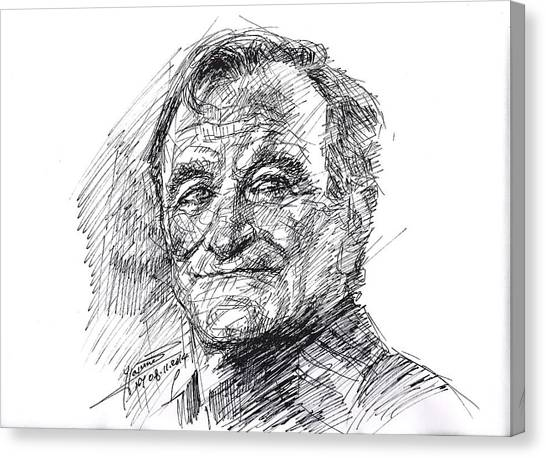 Perching Birds Canvas Print - Robin Williams by Ylli Haruni