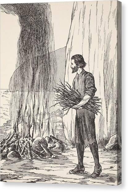Ocean Cliffs Canvas Print - Robinson Crusoe Cooking by English School