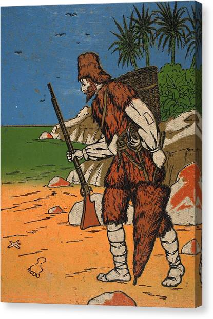 Tropical Beach Canvas Print - Robinson Crusoe, Illustration From The by English School