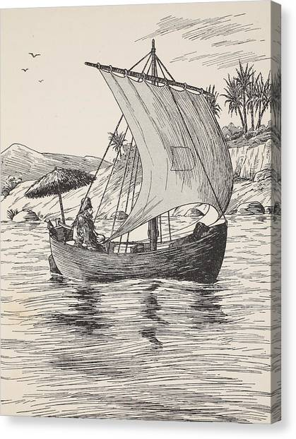 Rope Canvas Print - Robinson Crusoe On His Boat by English School