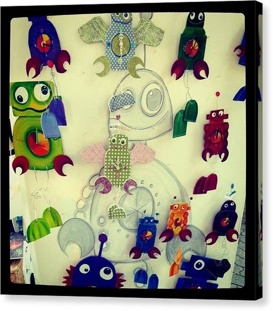 Quirky Canvas Print - Robot Clox by Lisa Barrett