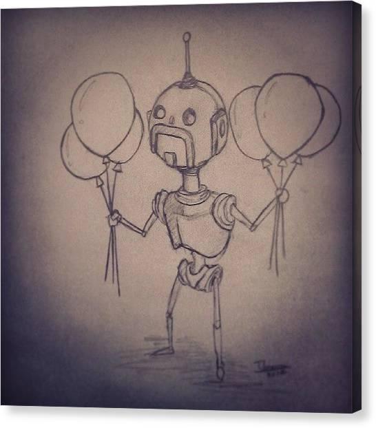 Steampunk Canvas Print - #robot #robots #moustache #handlebars by Timothy Vee