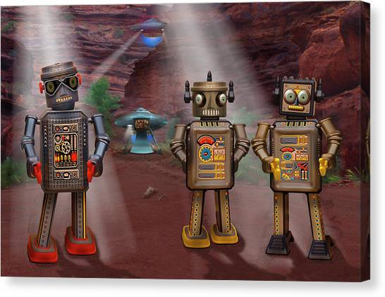 Ufo Canvas Print - Robots With Attitudes  by Mike McGlothlen