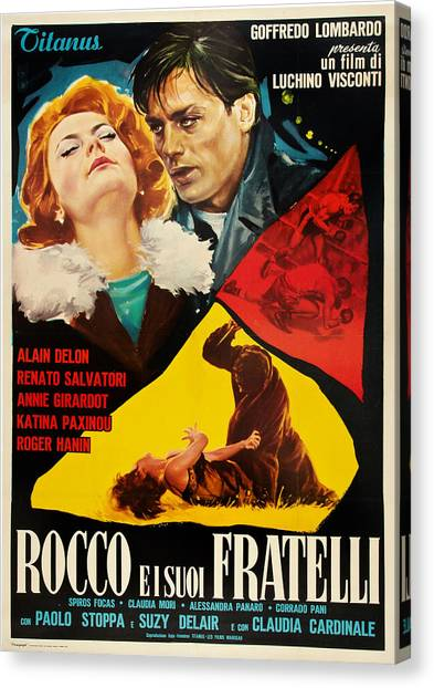 Foreign Ad Art Canvas Print - Rocco And His Brothers, Aka Rocco E I by Everett