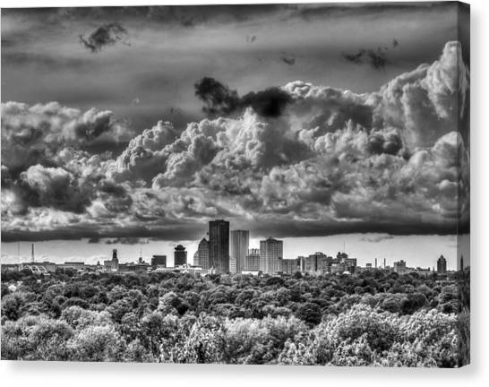 City Landscape Canvas Print - Rochester Ny Skyline In Black And White by Tim Buisman