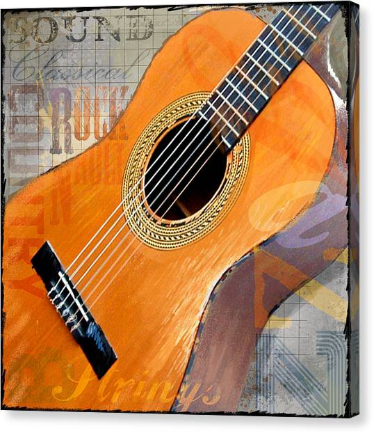 Acoustic Guitars Canvas Print - Rock 12x12 by Jim Baldwin