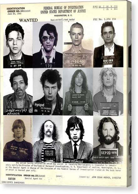 Actors Canvas Print - Rock And Roll's Most Wanted - Part II by Lee Dos Santos