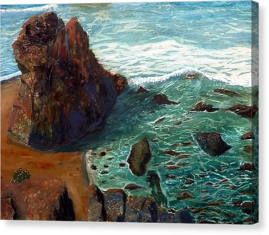 Rock Beach And Sea Canvas Print