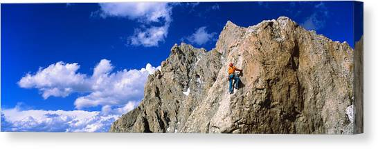 Wy Canvas Print - Rock Climber Grand Teton National Park by Panoramic Images