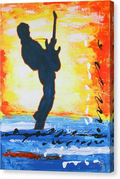 Rock Guitar Abstract Painting Canvas Print