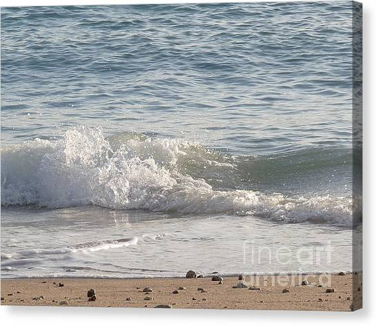 Rock-strewn Beach Canvas Print by Deborah Smolinske