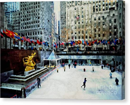 Rockefeller Center Ice Skaters Nyc Canvas Print
