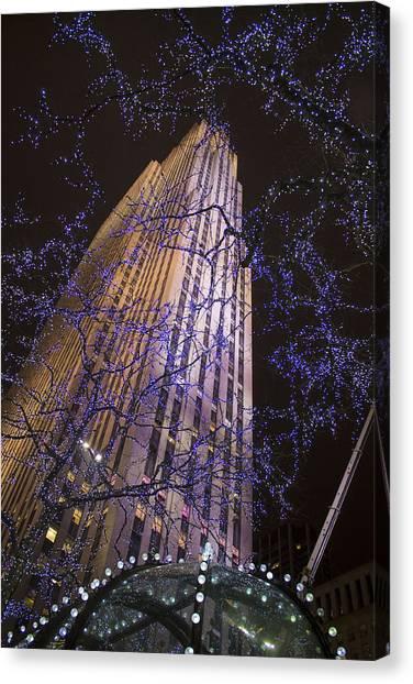 Rockefeller Center Night Lights Canvas Print