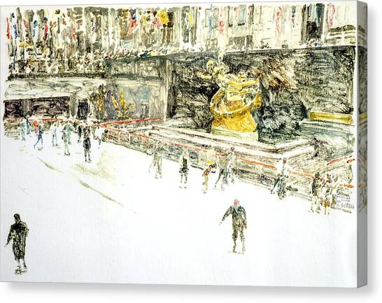 Printmaking Canvas Print - Rockefeller Center Skaters by Anthony Butera