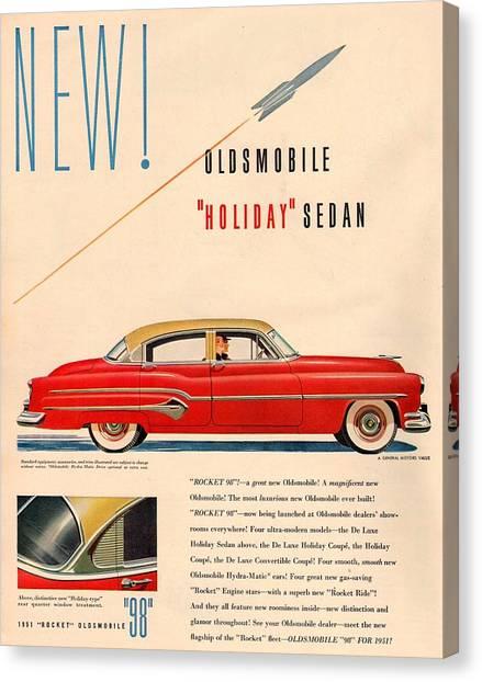 Classic Car Drawings Canvas Print - Rocket Oldsmobile by Georgia Fowler