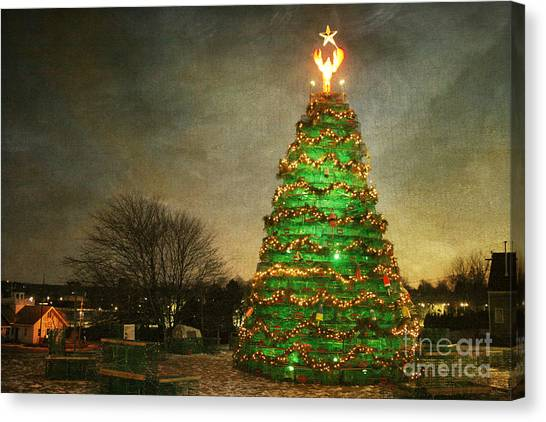 Rockland Lobster Trap Christmas Tree Canvas Print