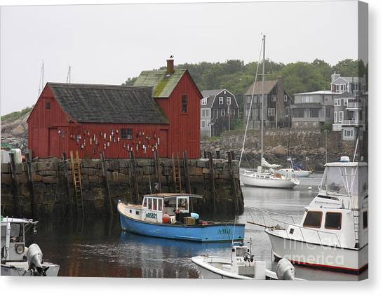 Canvas Print - Rockport Inner Harbor With Lobster Fleet And Motif No.1 by Christiane Schulze Art And Photography
