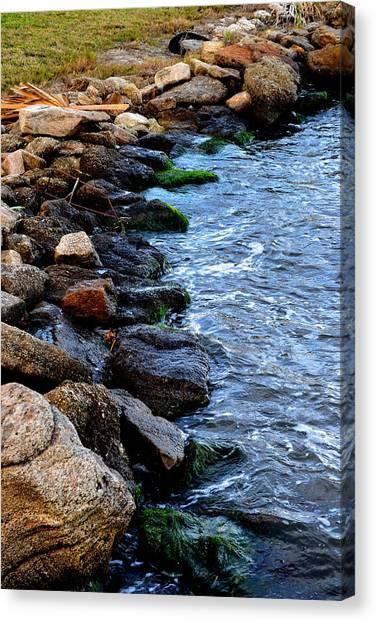 Rocks Along River Canvas Print by Victoria Clark