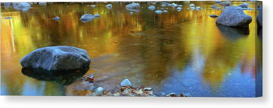 Fallen Leaf Canvas Print - Rocks In A Shallow Stream by Panoramic Images