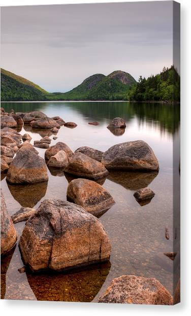 Jordan Pond Canvas Print - Rocks In Pond, Jordan Pond, Bubble by Panoramic Images