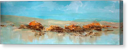 Rocks On The Beach Canvas Print by Dale  Witherow