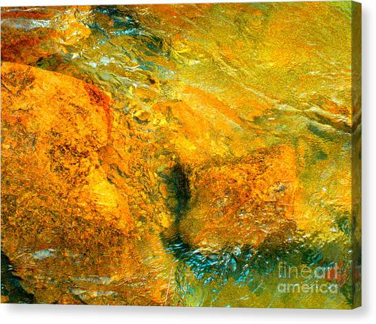 Rocks Under The Stream By Christopher Shellhammer Canvas Print