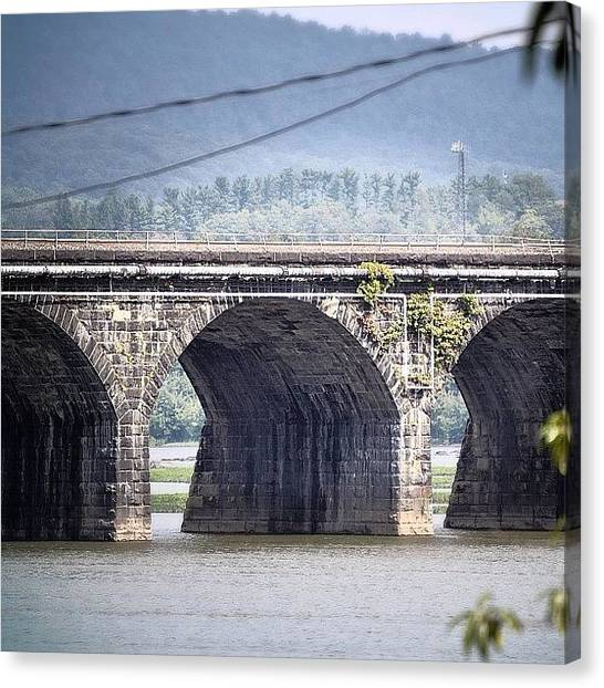 Freight Trains Canvas Print - Rockville Bridge - The Longest Stone by Kim Schumacher