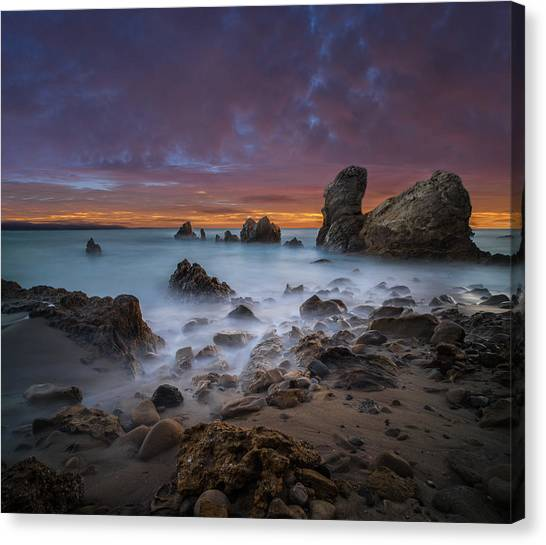 Boulder Canvas Print - Rocky California Beach - Square by Larry Marshall